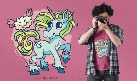 Diseño de camiseta unicornio nube
