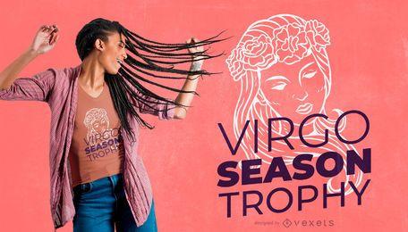 Diseño de camiseta de trofeo de la temporada virgo.
