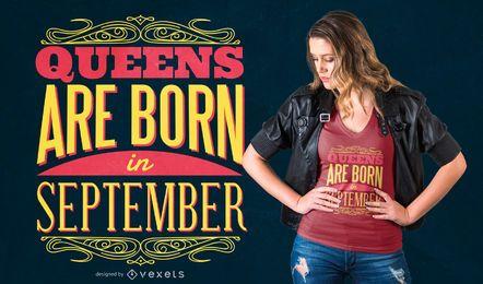 Diseño de camiseta de las reinas de septiembre