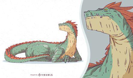 Design de criatura mítica do dragão