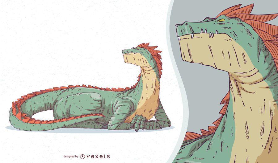 Diseño de criatura mítica del dragón
