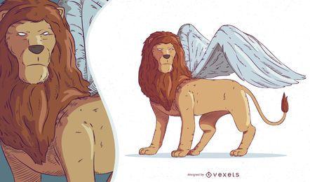 Ilustração de criatura mítica quimera
