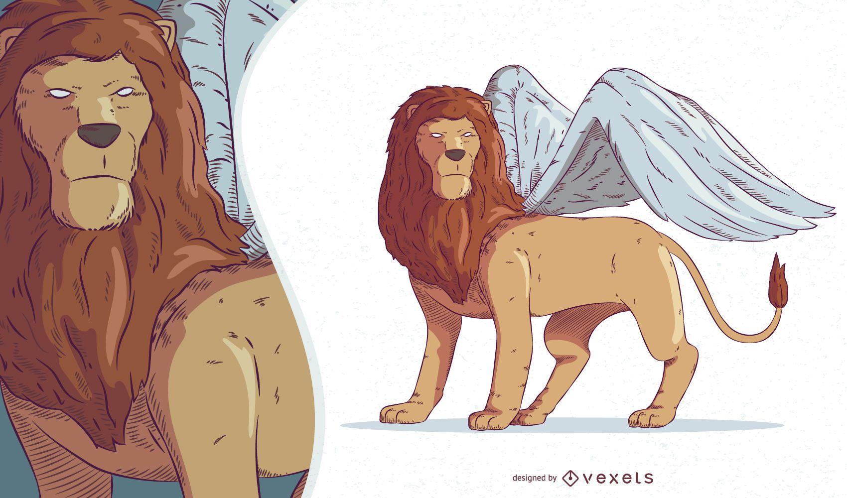 Ilustración de criatura mítica quimera