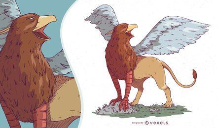 Ilustração de criatura mítica de Griffin