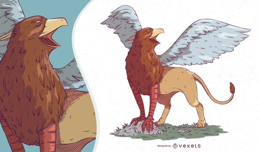 Ilustración de criatura mítica Griffin