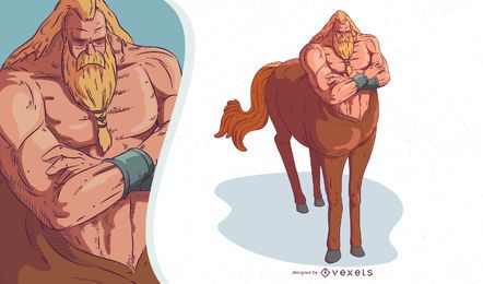 Ilustração de centauro de criatura mítica