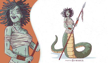 Ilustración de gorgona criatura mítica