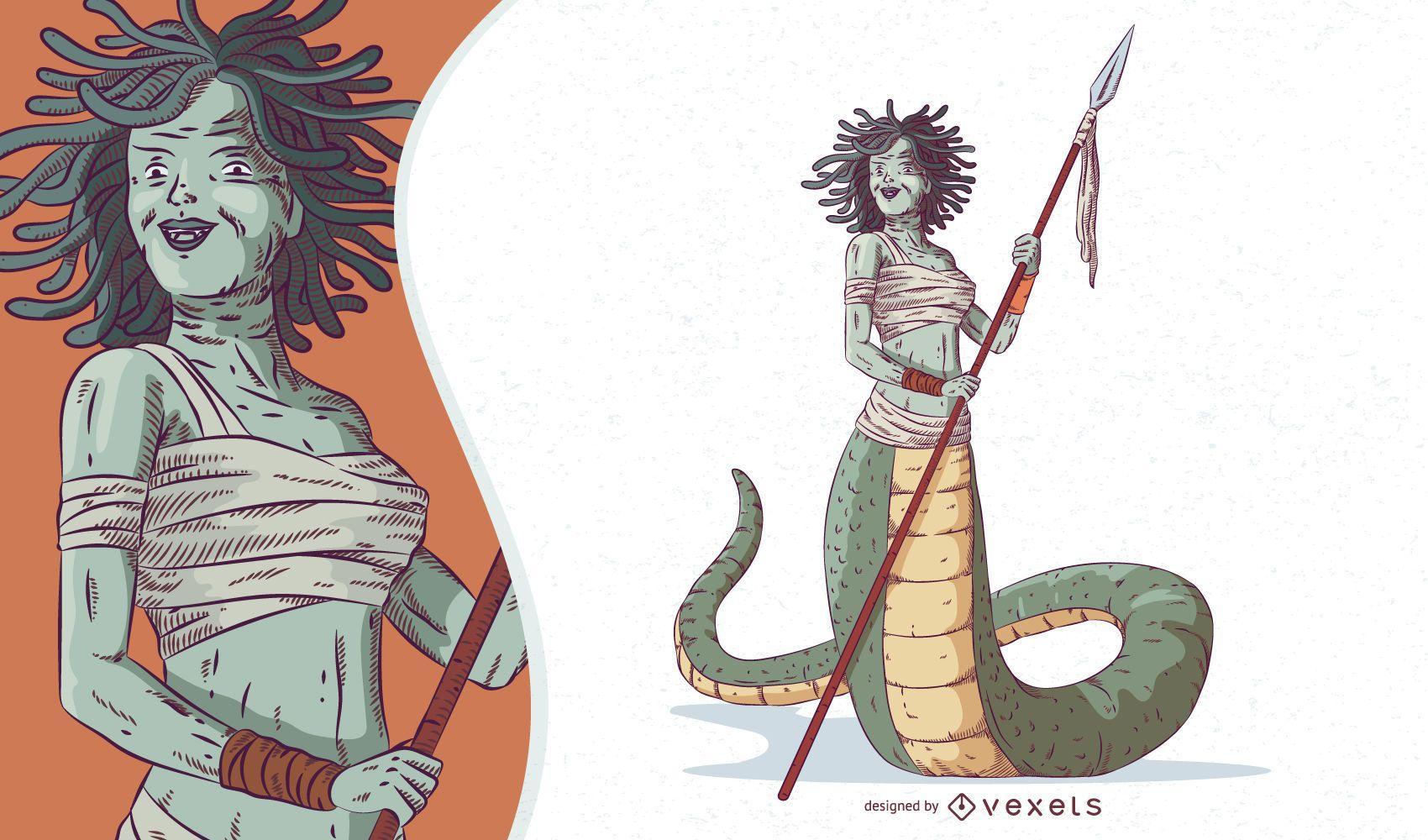 Mythical Creature Gorgon Illustration