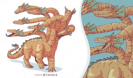 Ilustración de Hydra de criatura mítica