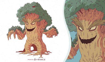 Ilustración de árbol monstruo