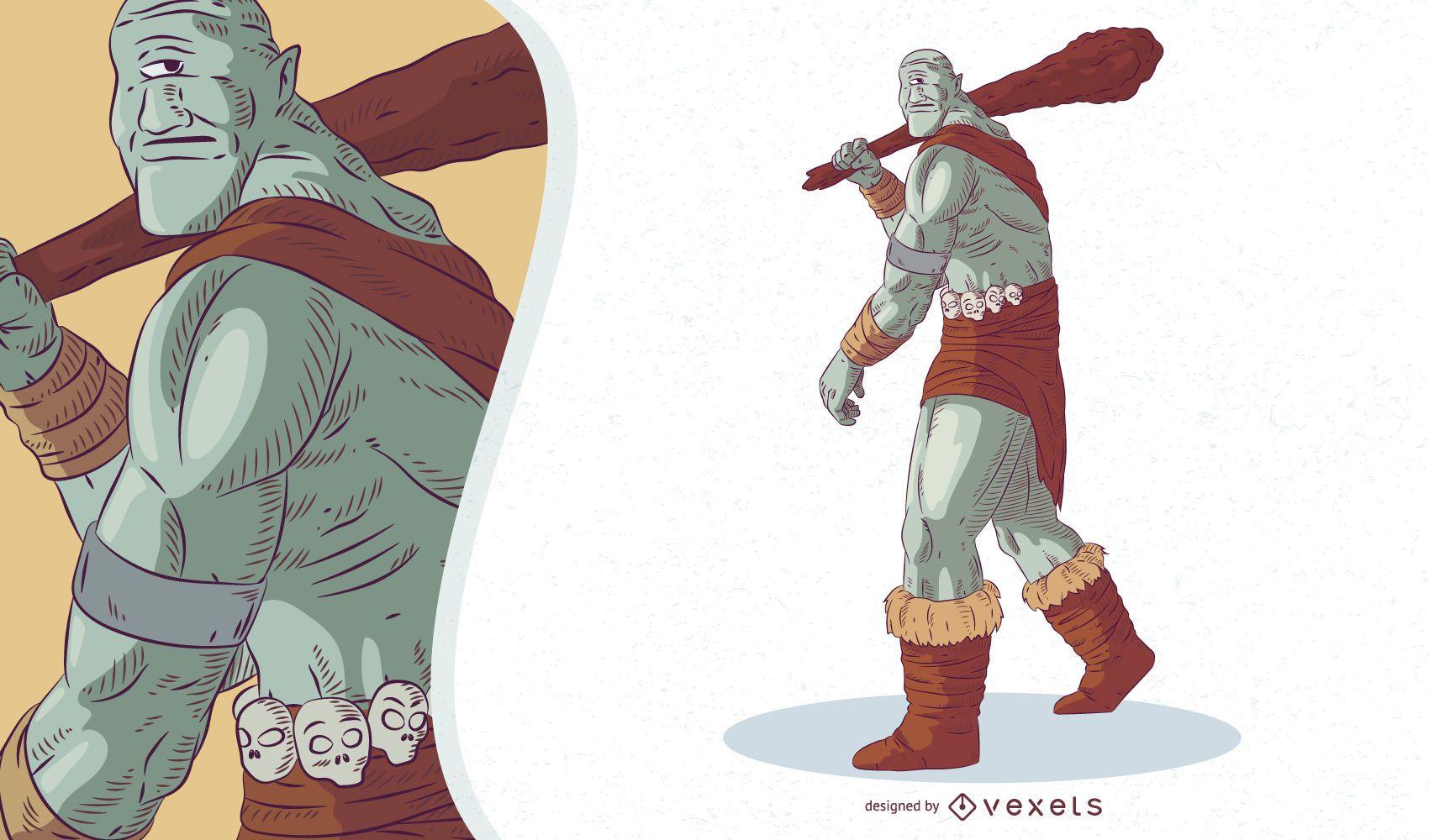 Ilustración de cíclope de criatura mítica