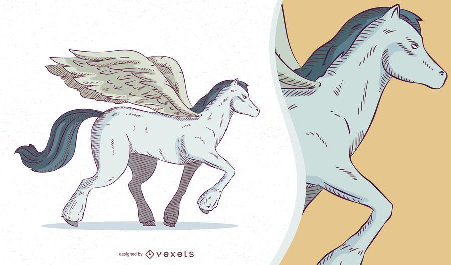 Ilustración de criatura mítica de Pegaso