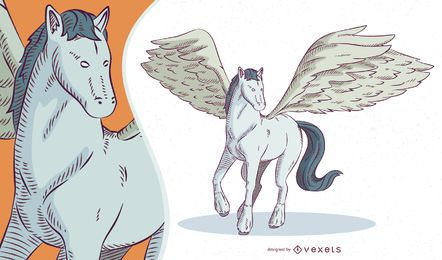 Ilustração de Pegasus de criatura mítica