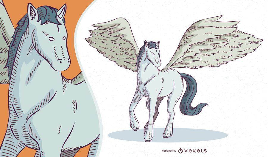 Ilustración de Pegaso de criatura mítica