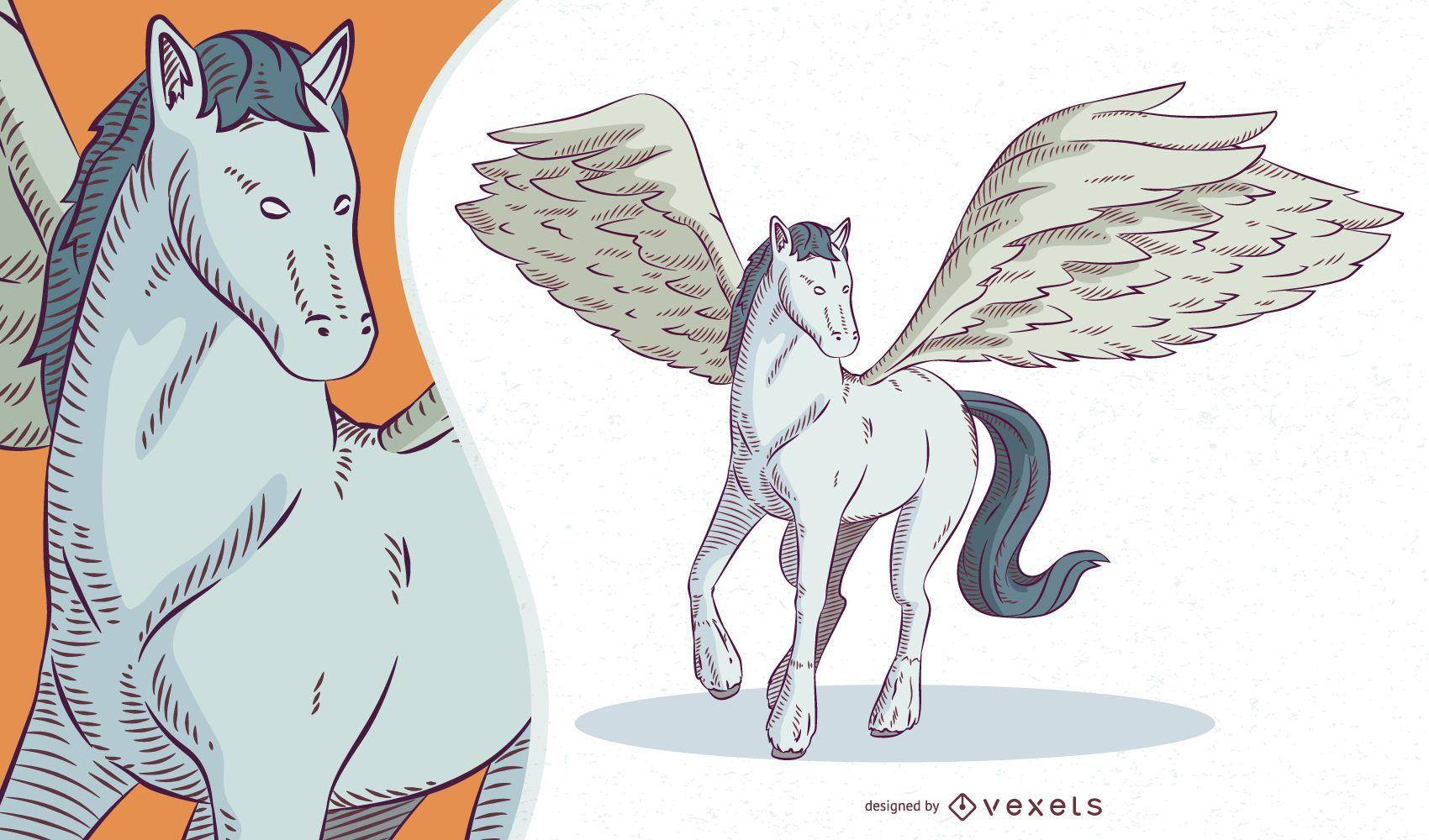 Ilustración de criatura mítica Pegaso