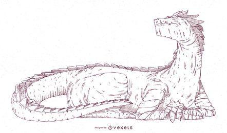 Diseño de ilustración de trazo de dragón