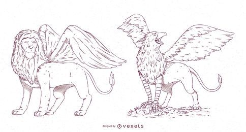 Mythical Creatures Stroke Design Pack #1