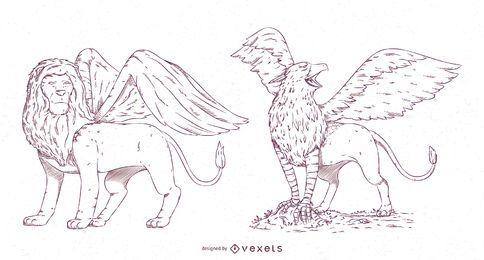 Pacote de design de traços de criaturas míticas nº 1