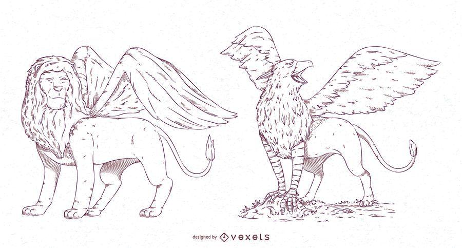 Paquete de diseño de trazo de criaturas míticas n. ° 1