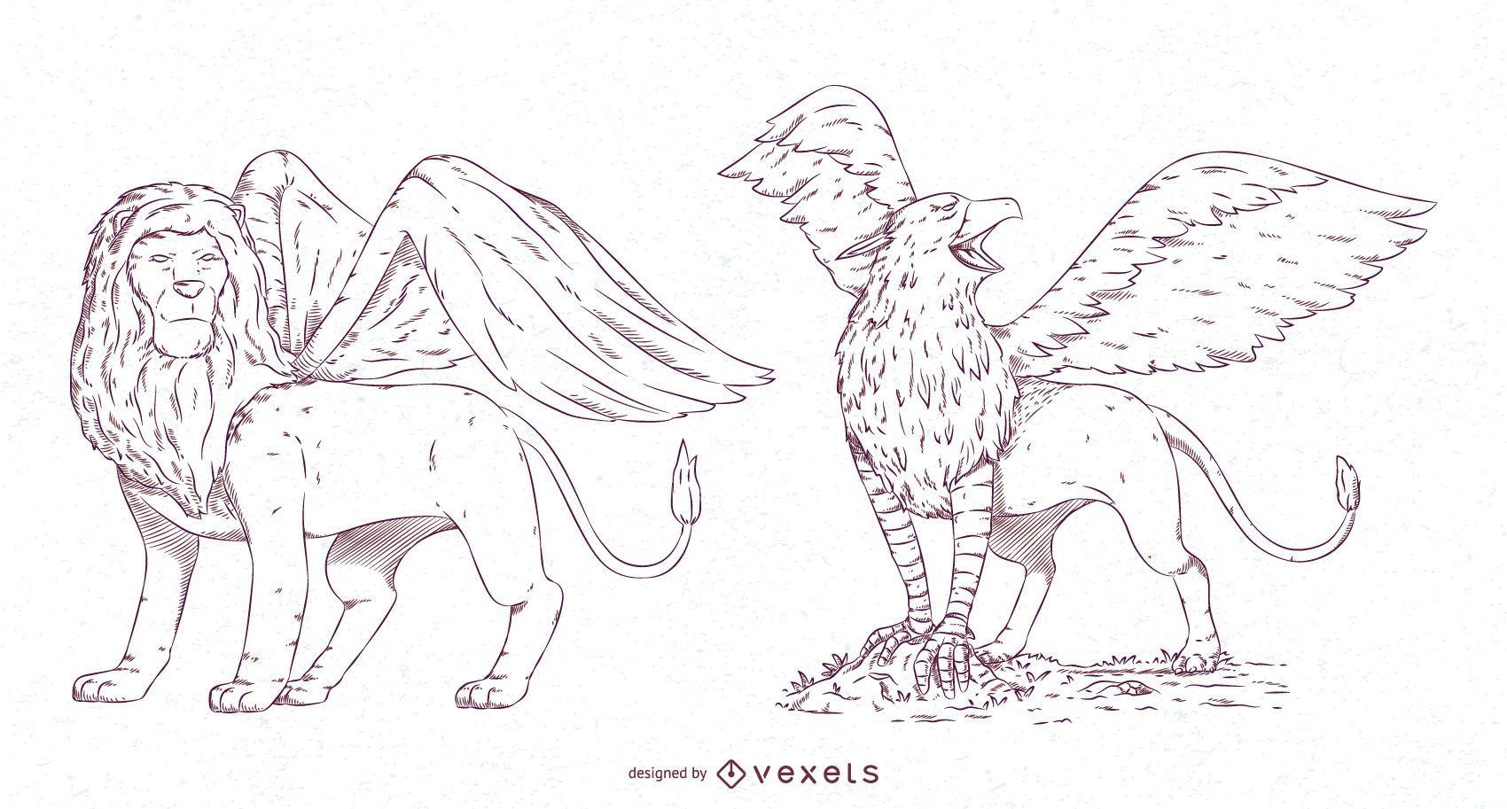 Paquete de diseño de trazos de criaturas míticas n. ° 1