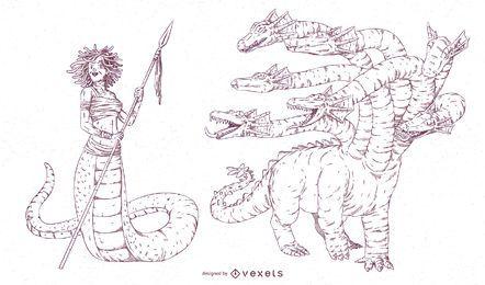 Paquete de trazos de criaturas míticas n. ° 2