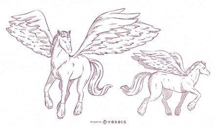 Conjunto de traços de ilustração Pegasus
