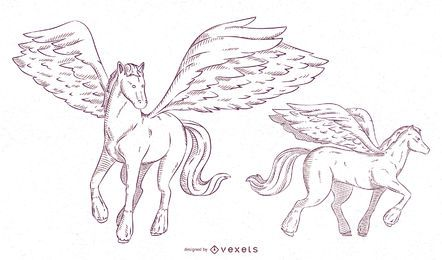 Conjunto de trazos de ilustración de Pegaso