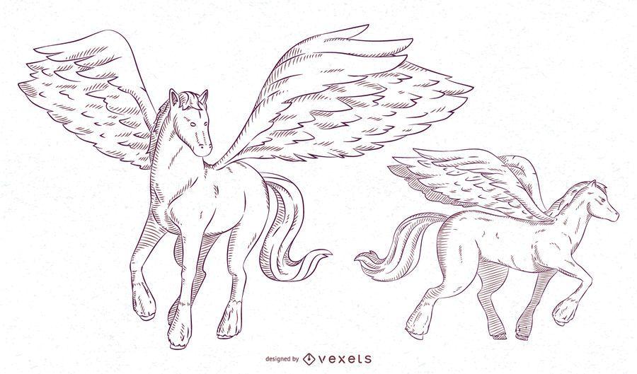 Conjunto de pinceladas de ilustração de Pegasus