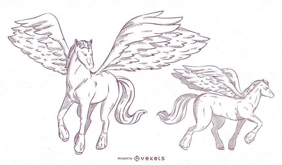 Pegasus Illustration Stroke Set