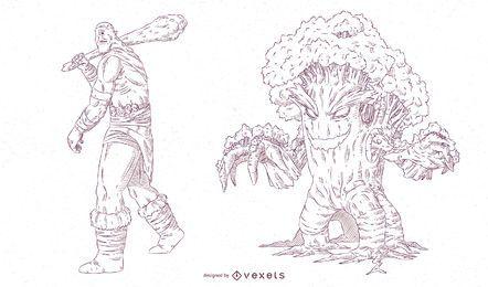 Conjunto de ilustración de trazo de criaturas míticas