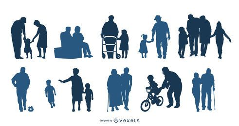 Grandparents Silhouette Vector Pack