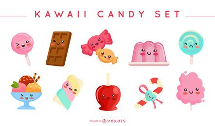 Conjunto de vectores de dulces kawaii