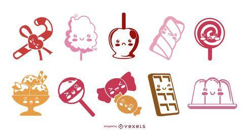 Conjunto de ilustração de silhueta de doces kawaii