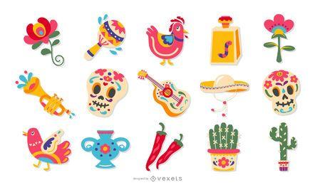 Conjunto de design de elementos planos mexicanos