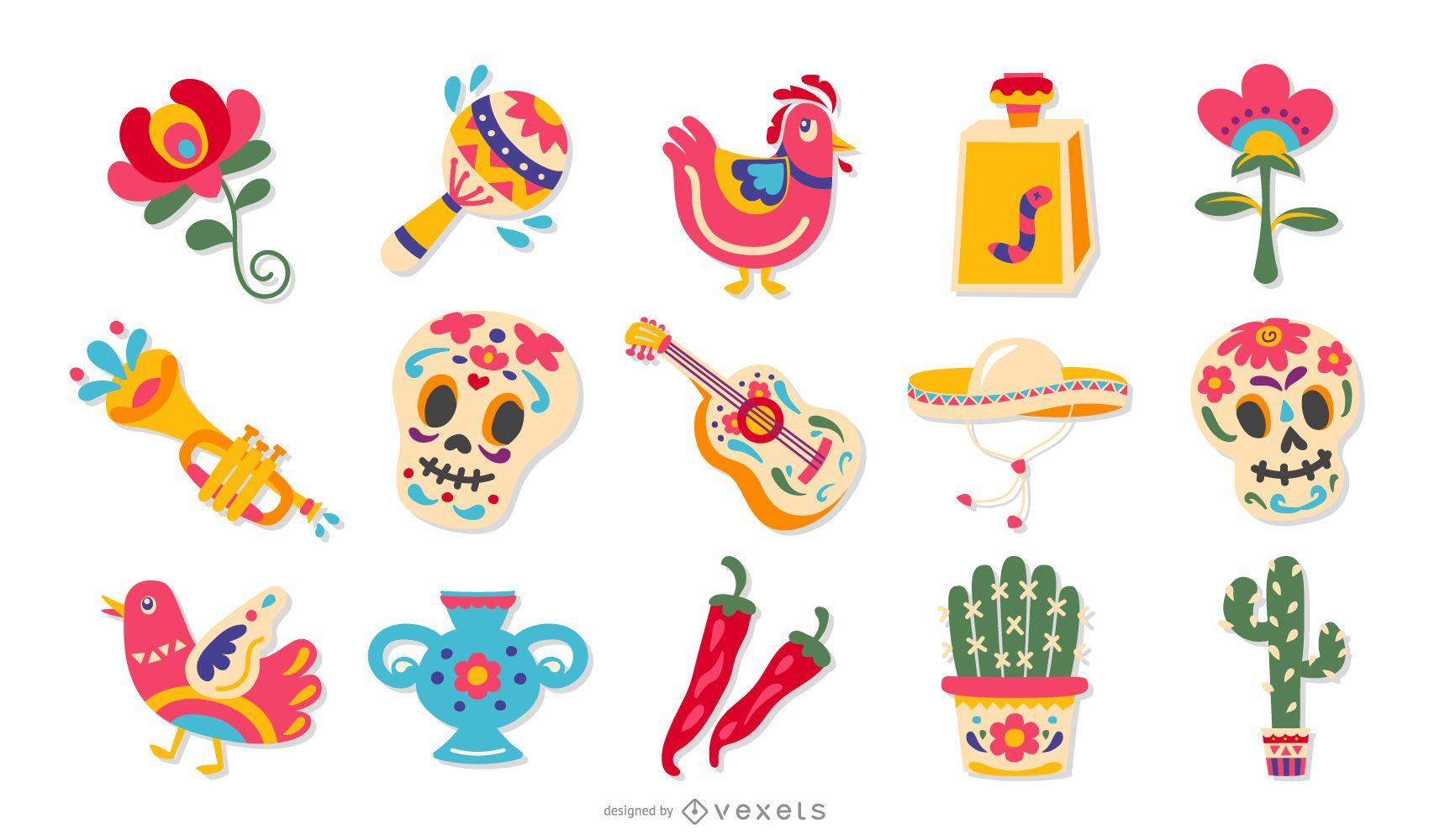Conjunto de dise?o de elementos planos mexicanos
