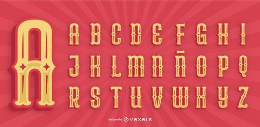 Pacote de letras do alfabeto de estilo mexicano