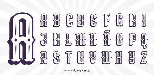 Conjunto de letras del alfabeto de silueta de estilo mexicano
