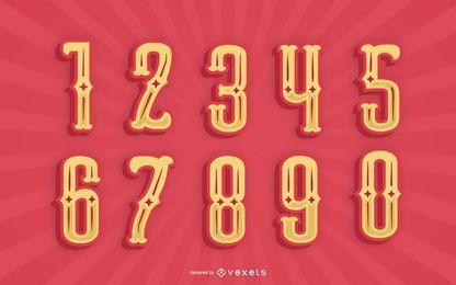 Pacote de números do alfabeto estilo mexicano