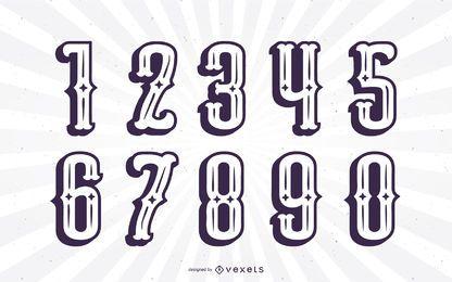 Conjunto de números do alfabeto de silhueta em estilo mexicano