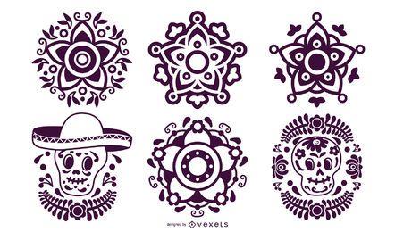Pacote de elementos de estêncil mexicano
