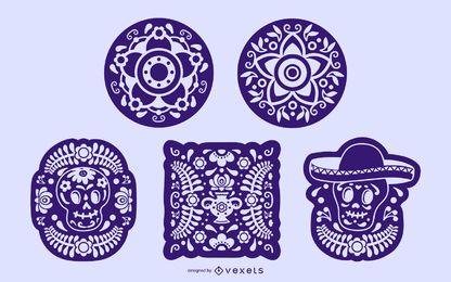 Coleção de elementos de estêncil mexicano