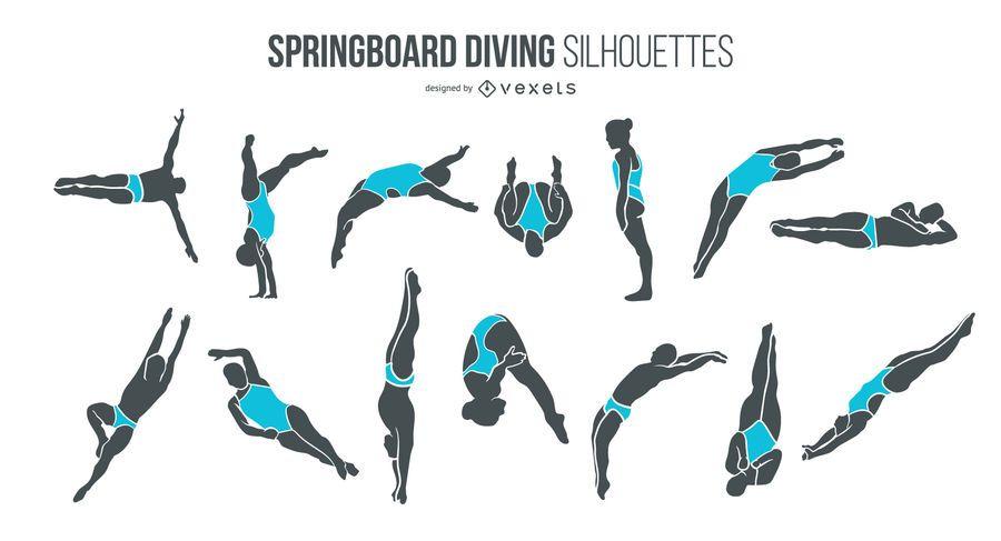 Pacote de pessoas de silhueta de mergulho de trampolim