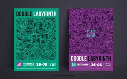 Diseño de plantilla de cartel doble de evento