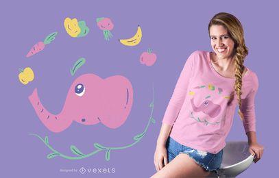 Diseño de camiseta vegana de elefante