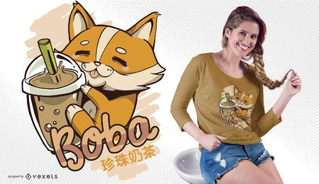 Diseño de camiseta Corgi bubble tea