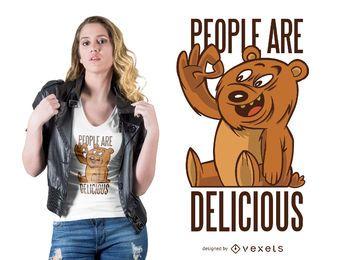 Diseño de camiseta oso gente deliciosa