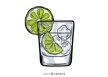 Diseño de ilustración de gin tonic