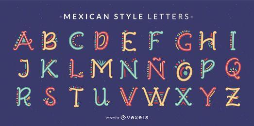 Conjunto de letras do alfabeto doodle de estilo mexicano