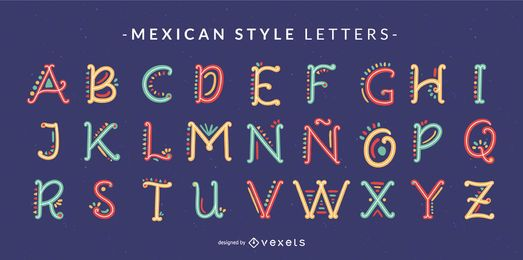 Mexikanische Art-Gekritzel-Alphabet-Buchstabe-Satz