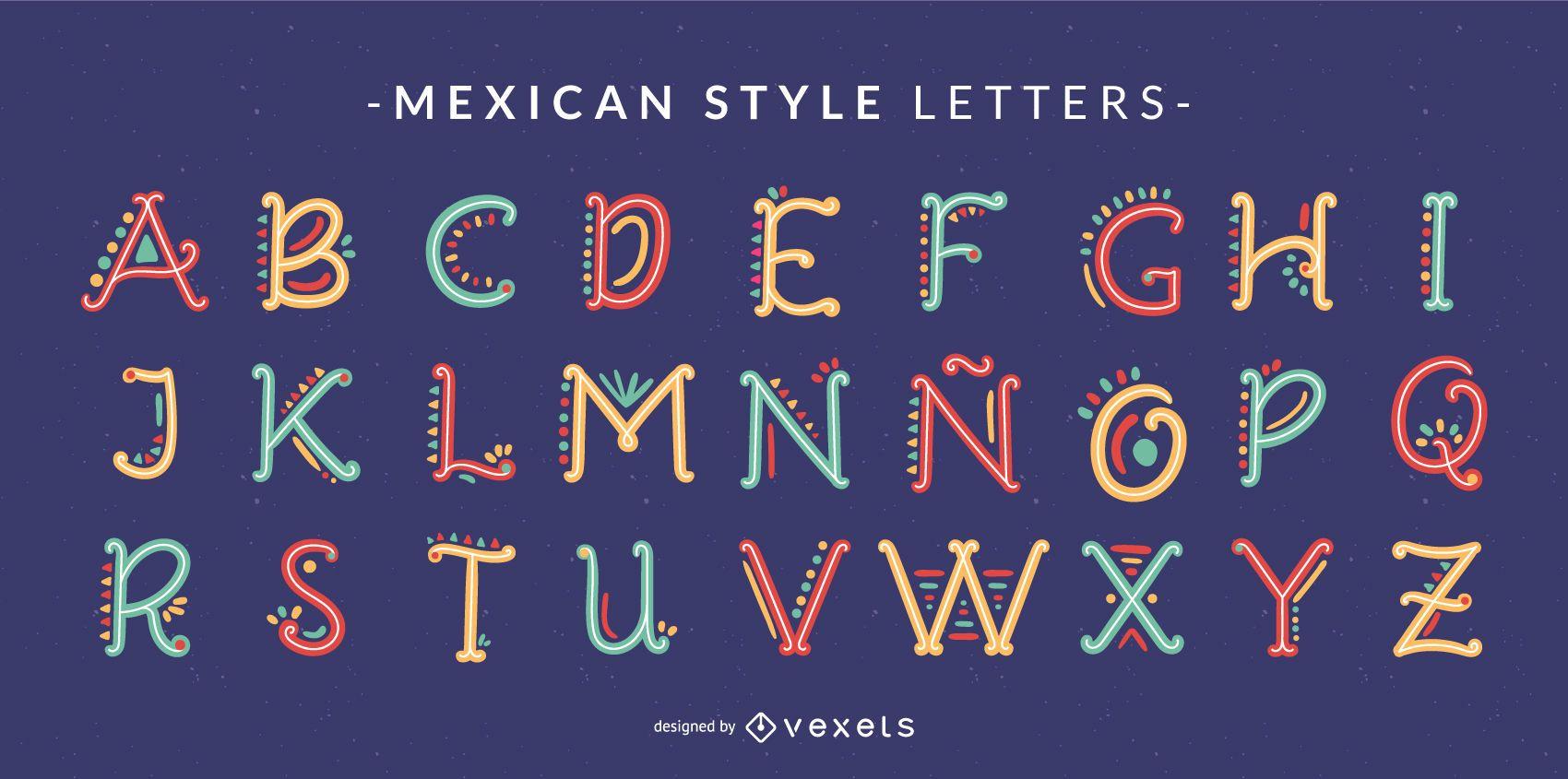 Conjunto de letras del alfabeto Doodle estilo mexicano